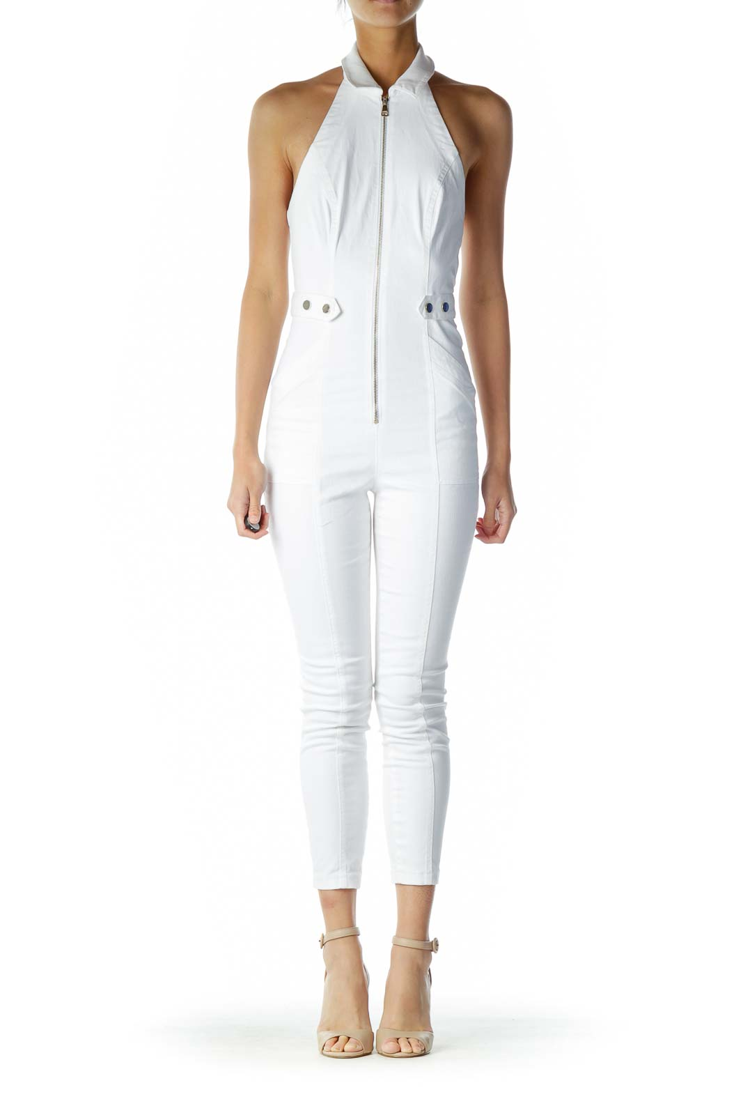 White Zippered Halter Jumpsuit