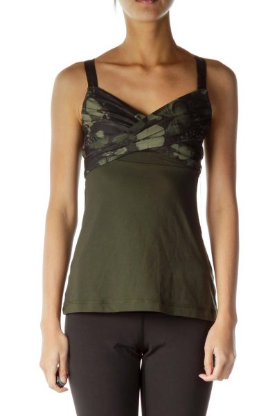 Green Floral Print Racerback Yoga Top