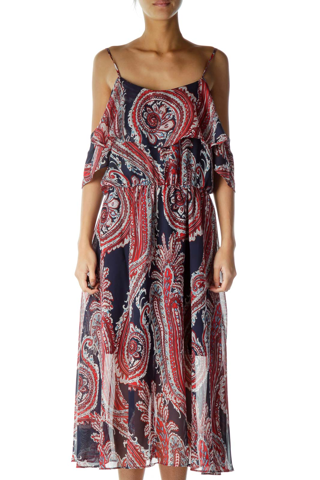 Red Blue Multicolor Print Loose Maxi Dress