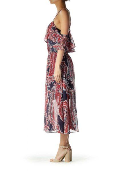 Red Blue Multicolor Print Loose Maxi Dress