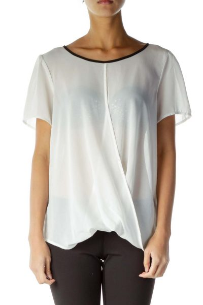 White Black Trim See-Through Blouse