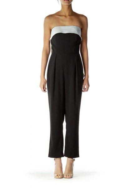 Black White Bow Pocketed Designer jumpsuit