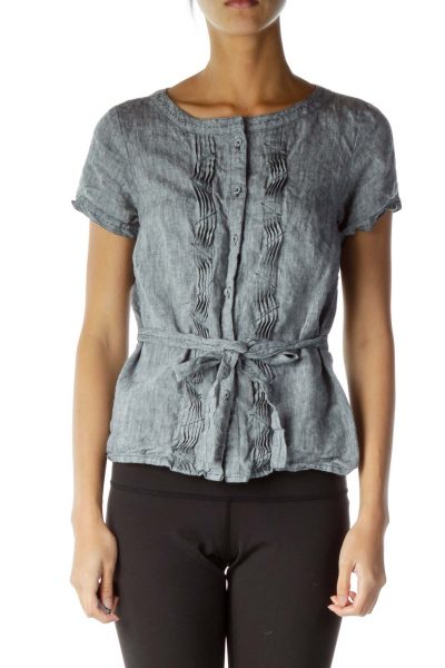 Gray Belted Button Down Top