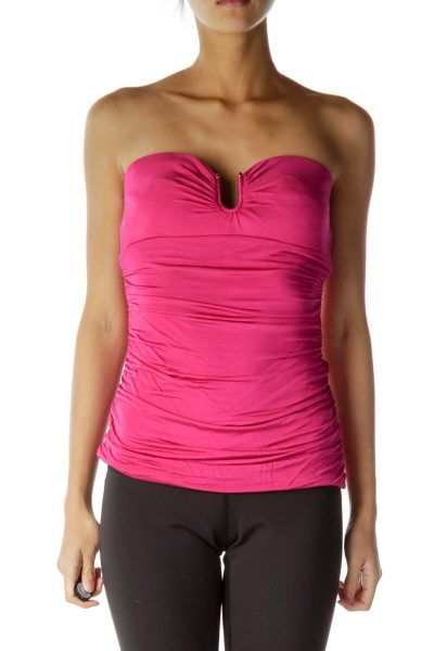 Pink Strapless Scrunched Top
