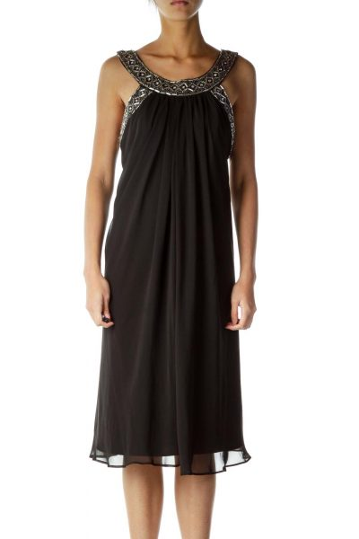 Black beaded Tent Cocktail Dress