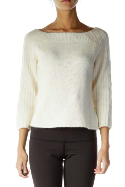 Beige Angora Lambswool Sweater