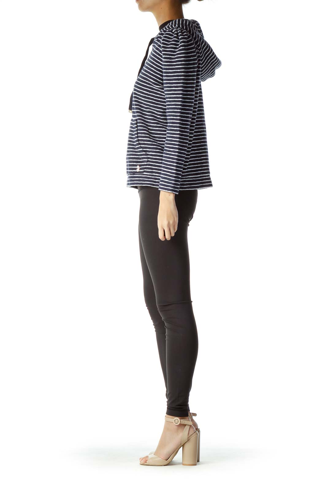 Blue White Striped Hooded Sweater