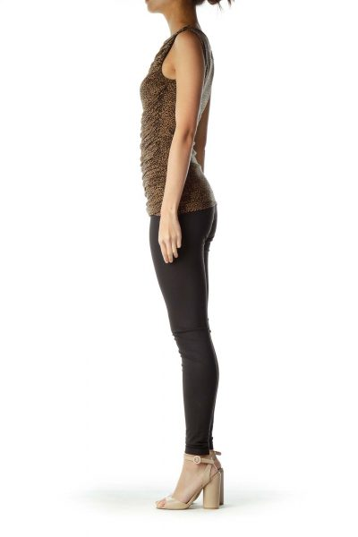 Brown Black Animal Sleeveless Tunic