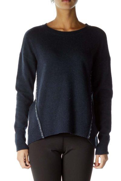 Navy Gemstone Weave Detail Sweater