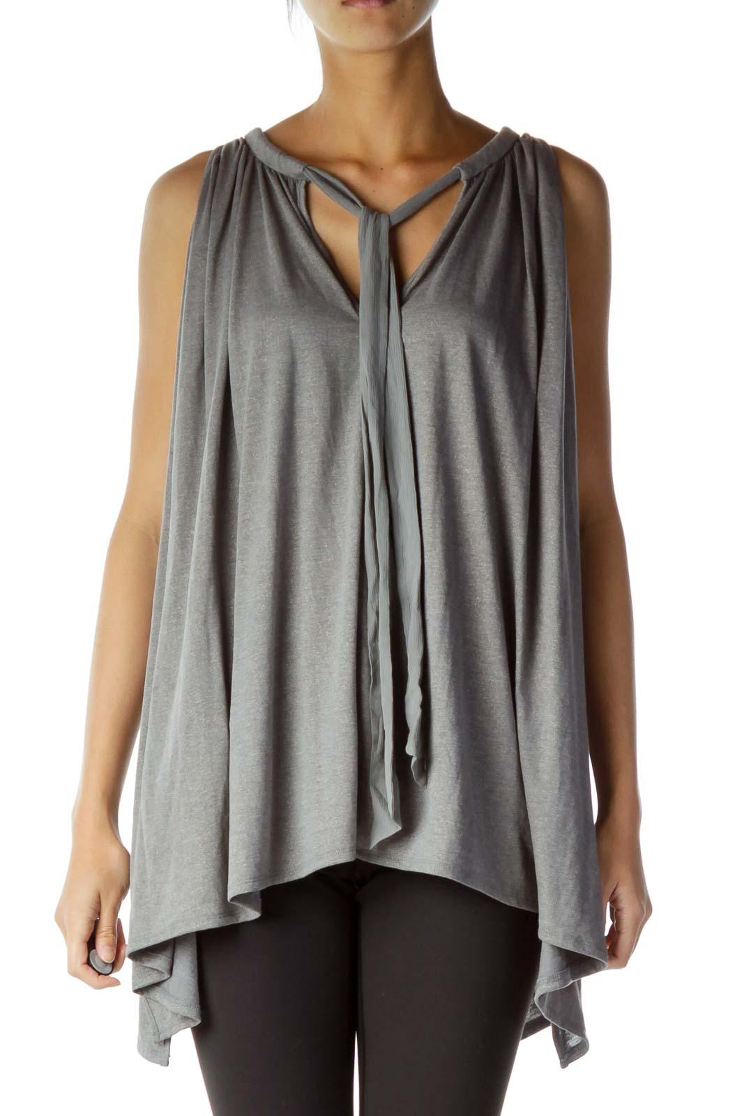 Gray Metallic Cold Shoulder Blouse
