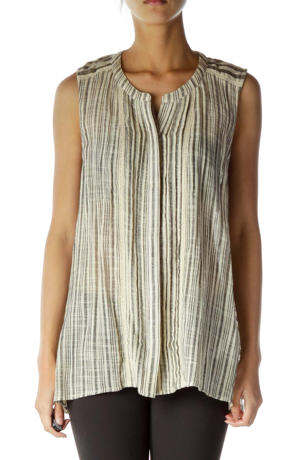 Beige Gray Stripe Sleeveless Blouse