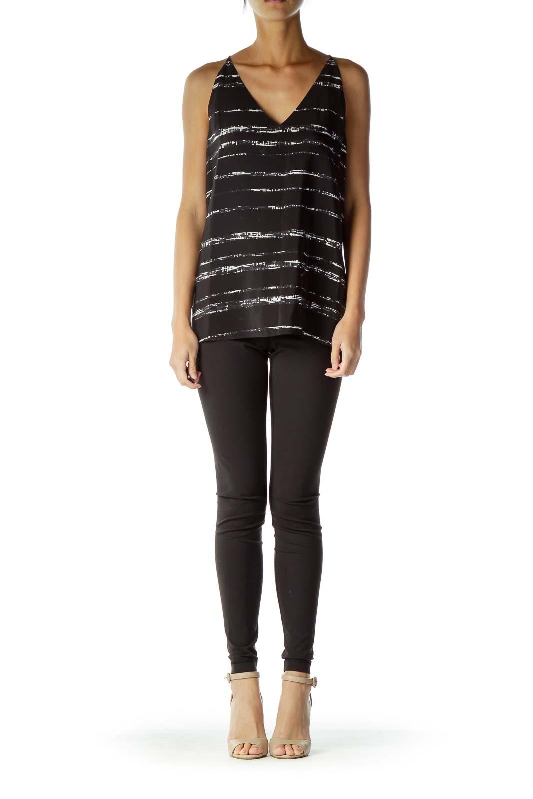 Black White Stripe Print Silk Blouse