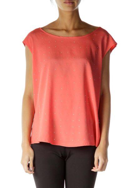 Orange Studded Sleeveless Blouse