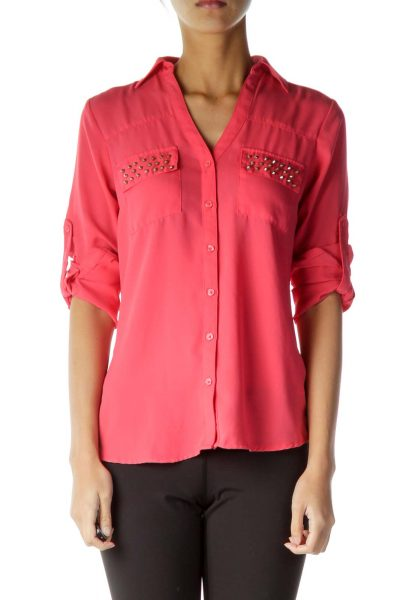 Pink Stud Detailed Blouse
