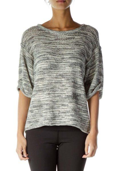 Cream Gray Mottled Crocheted Knit Top