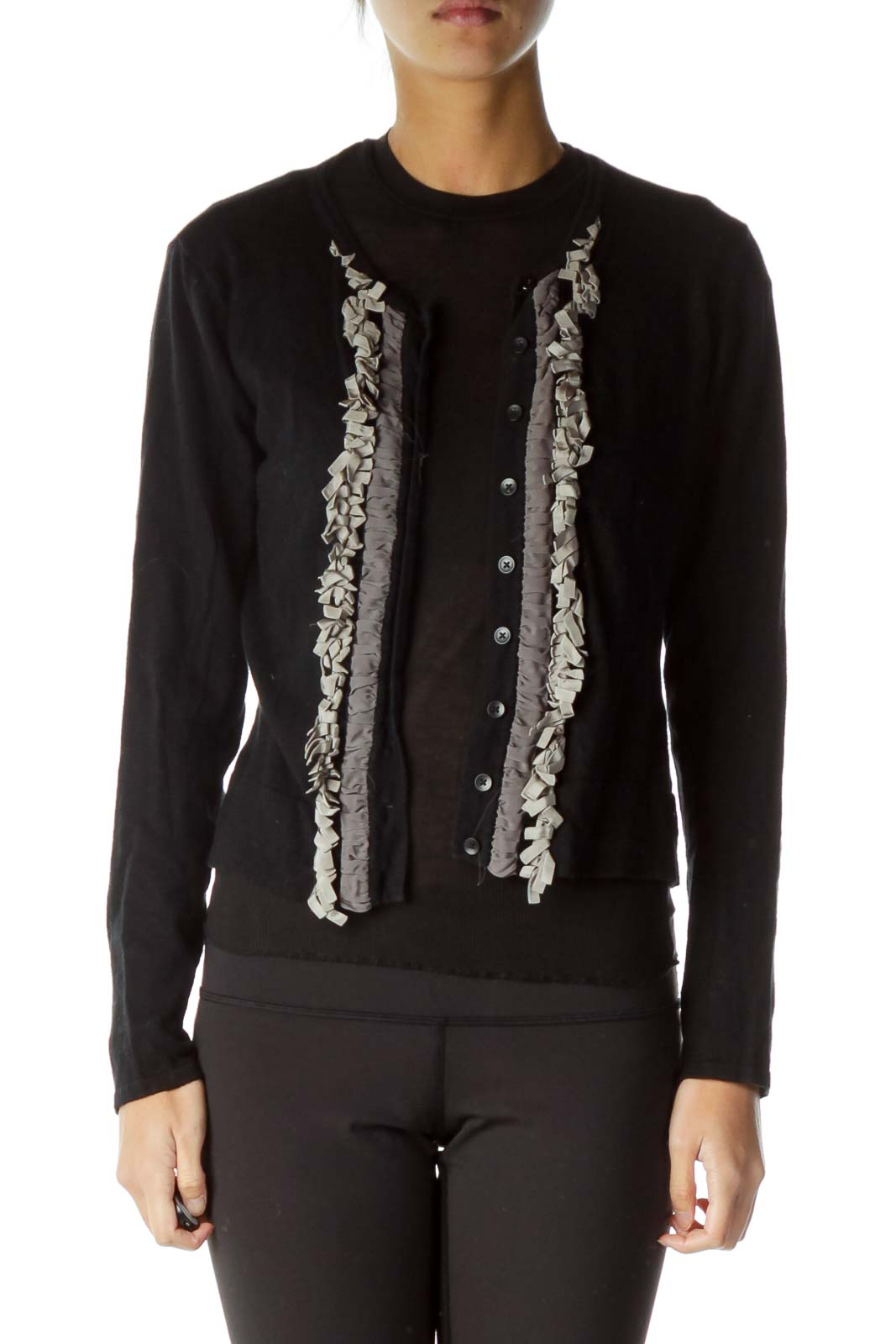Black Ruffle Detailed Cardigan