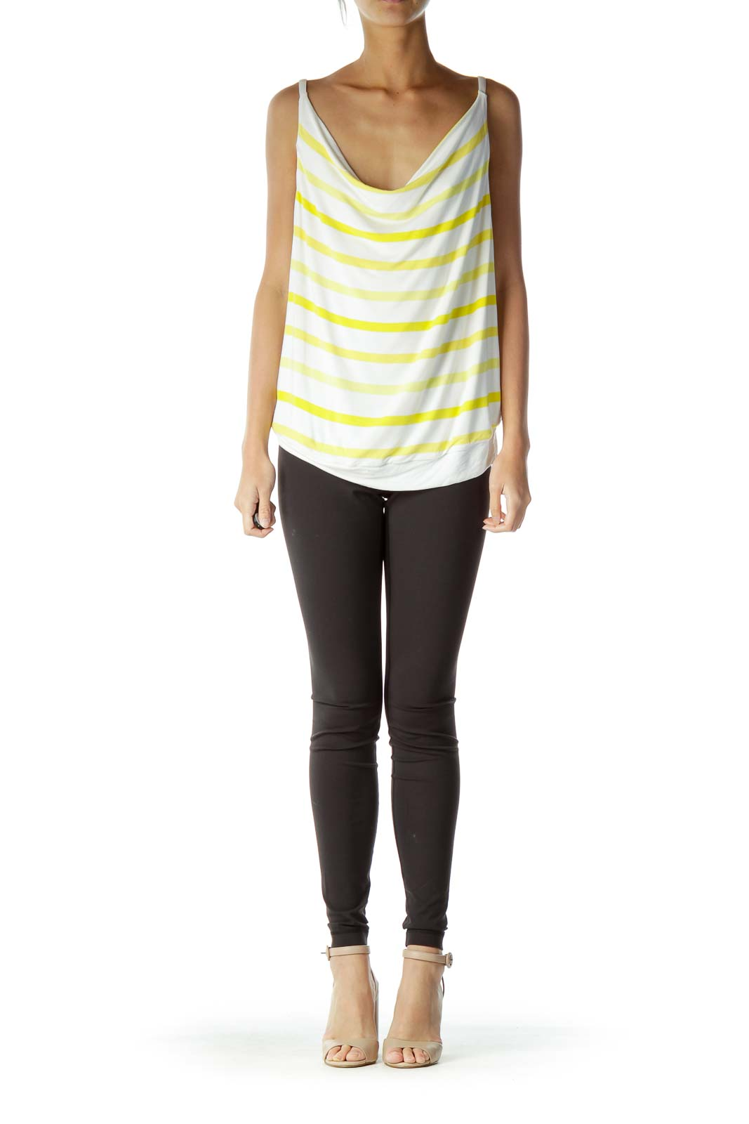 Cream Yellow Striped Tank Top