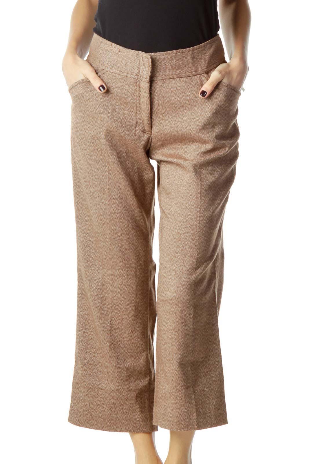 Brown Modeled Cropped Pant