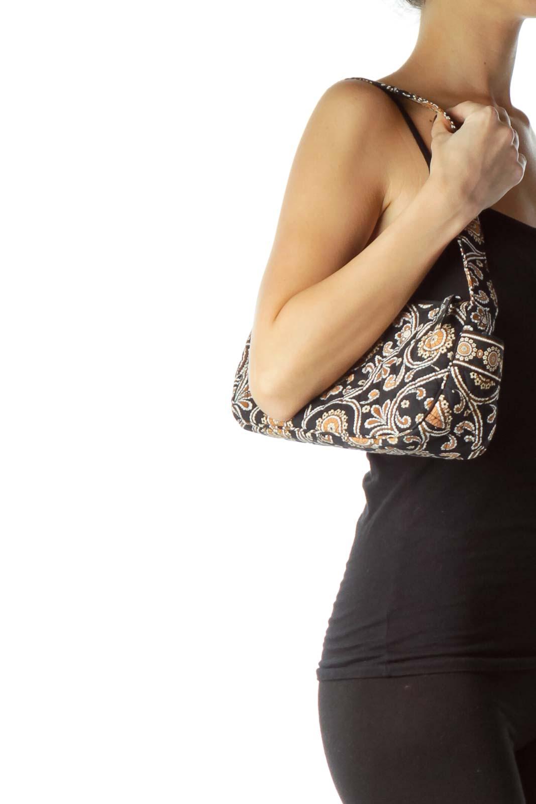 Black Brown Paisley Mini Shoulder Bag