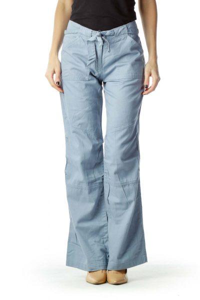 Blue Wide Leg Cotton Pant