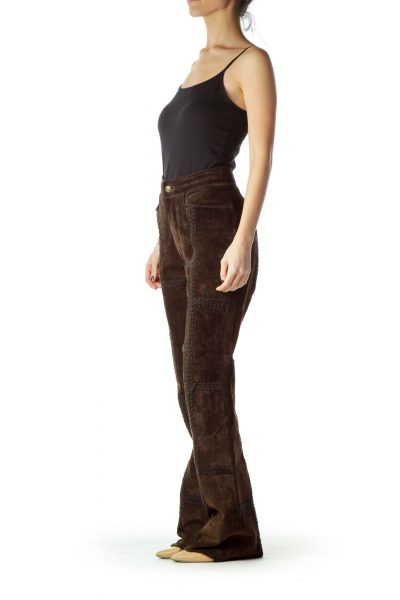 Brown Leather Patchwork Pant