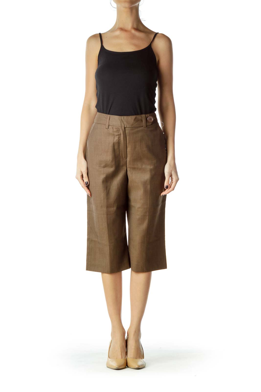Brown Wool Cropped Slacks