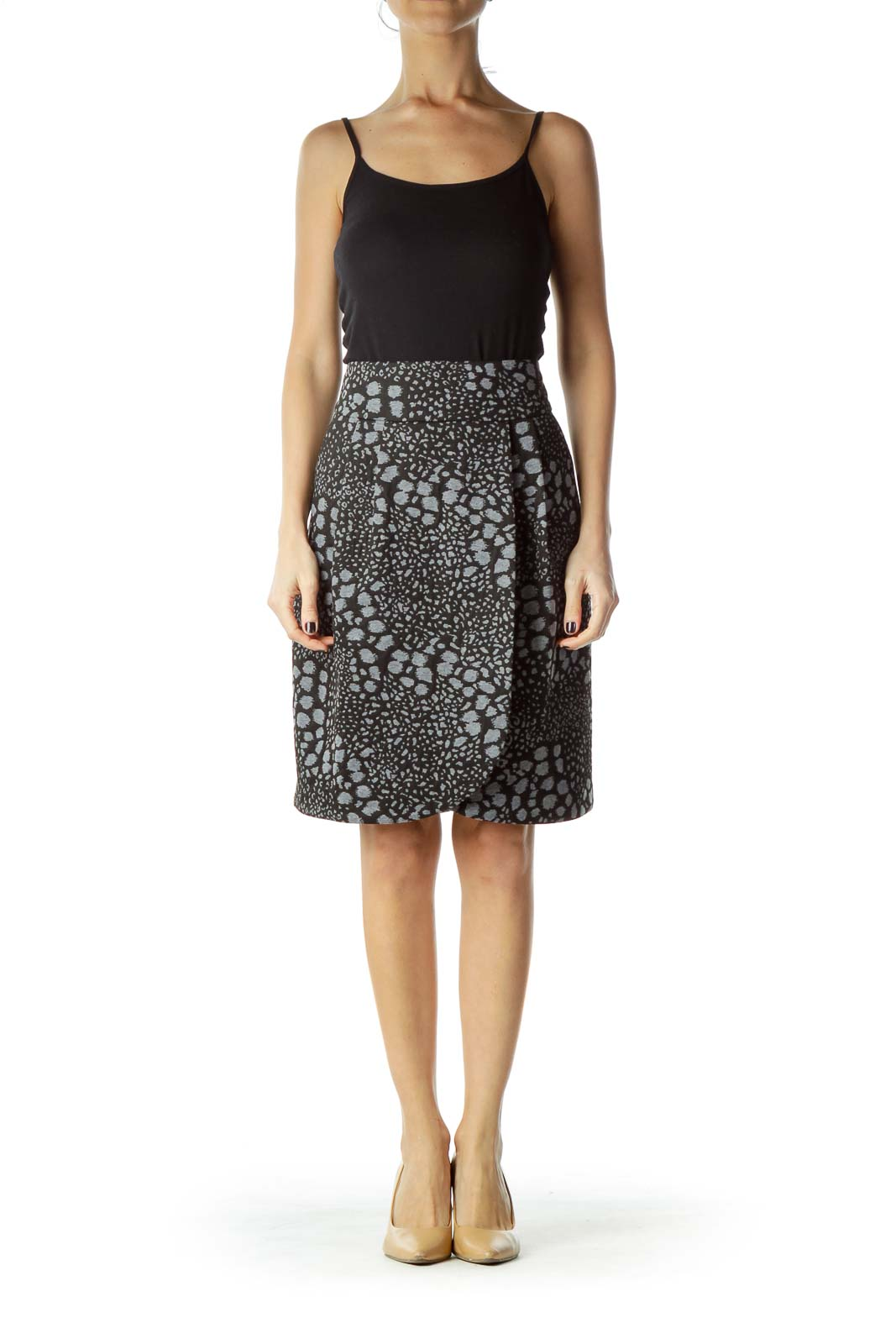 Gray Animal Print Skirt