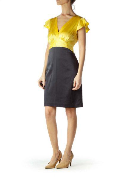 Yellow Black Faux-Silk Bell-Sleeve Work Dress