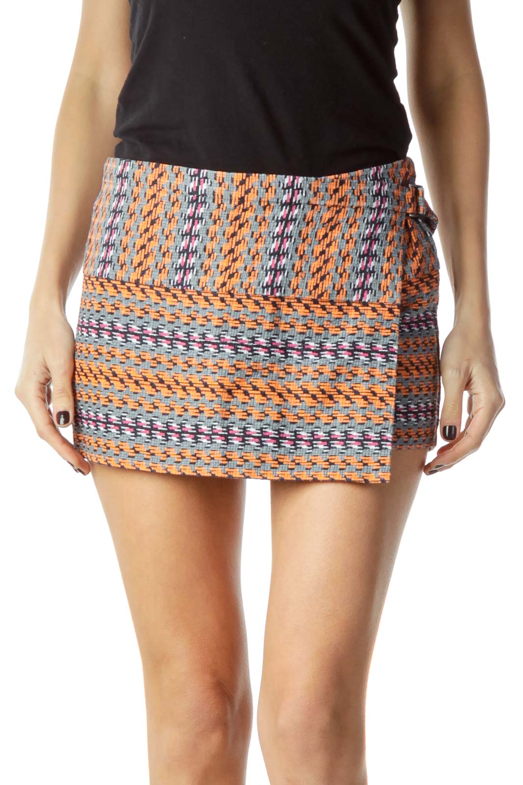 Orange Tweed Printed Short