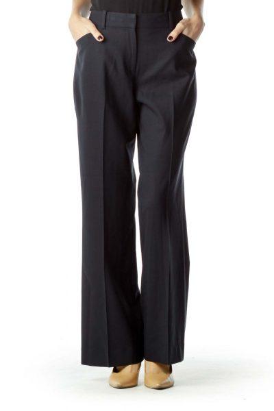 Navy Wool Straight Leg Slacks