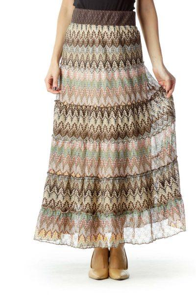 Brown Printed Maxi Skirt