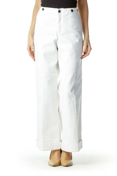 White Wide Leg Cropped Jean
