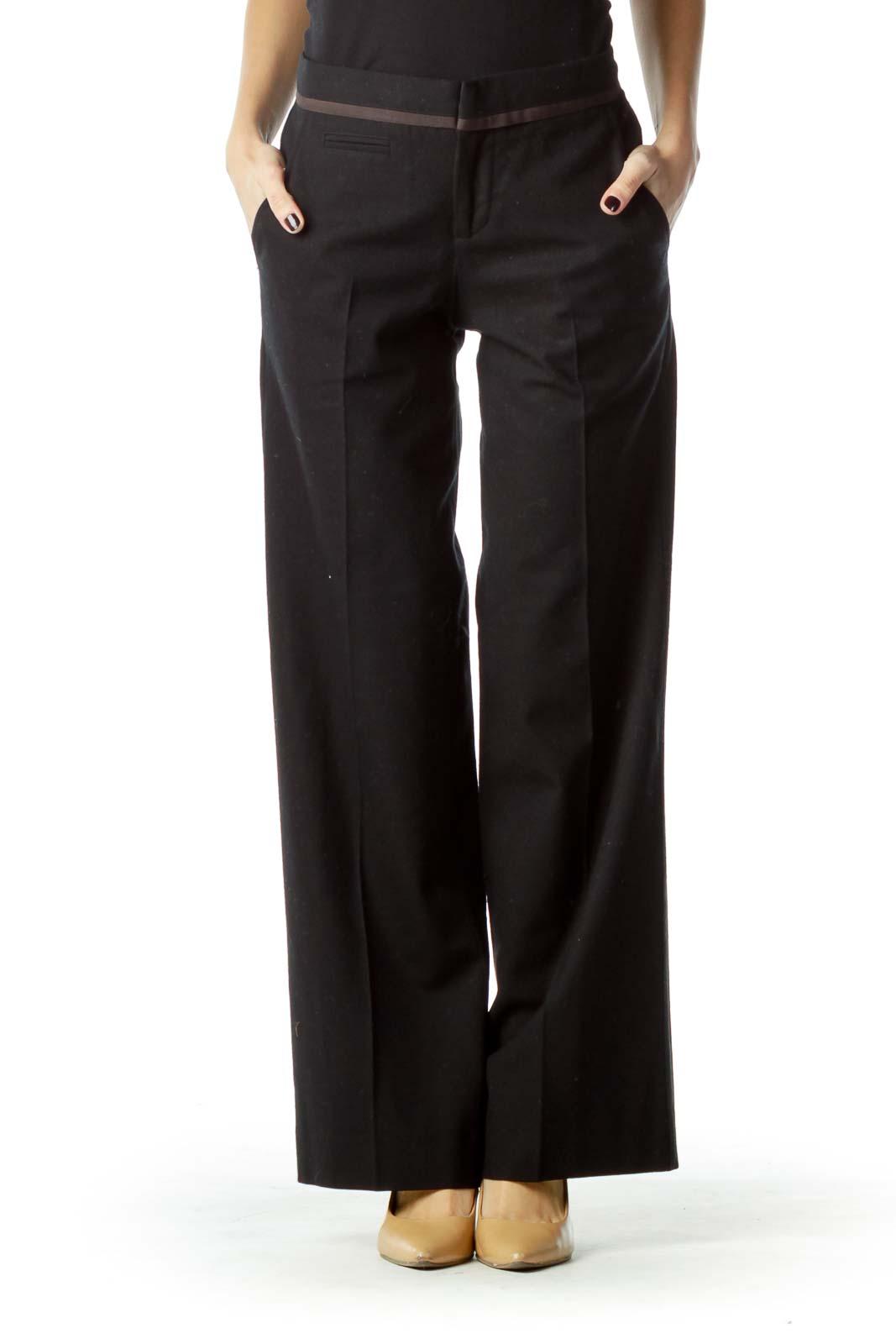Black Wide Leg Wool Trousers