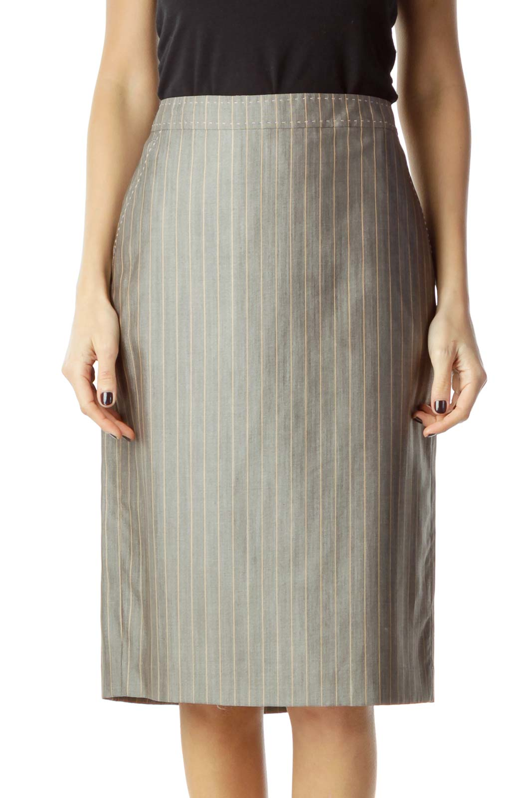 f55a331e9 Shop Gray Striped Wool Silk Pencil Skirt clothing and handbags at ...