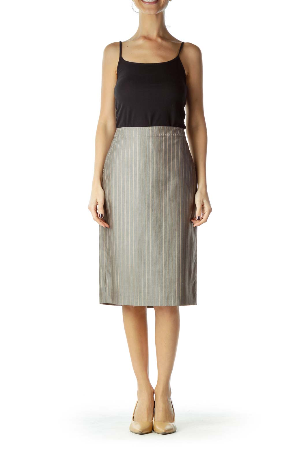 Gray Striped Wool Silk Pencil Skirt
