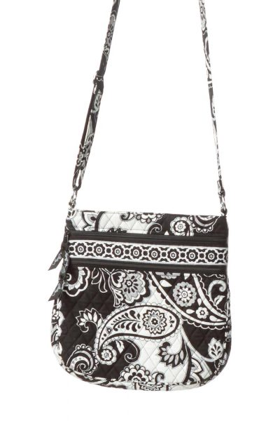 Black White Paisley Quilted Crossbody Bag