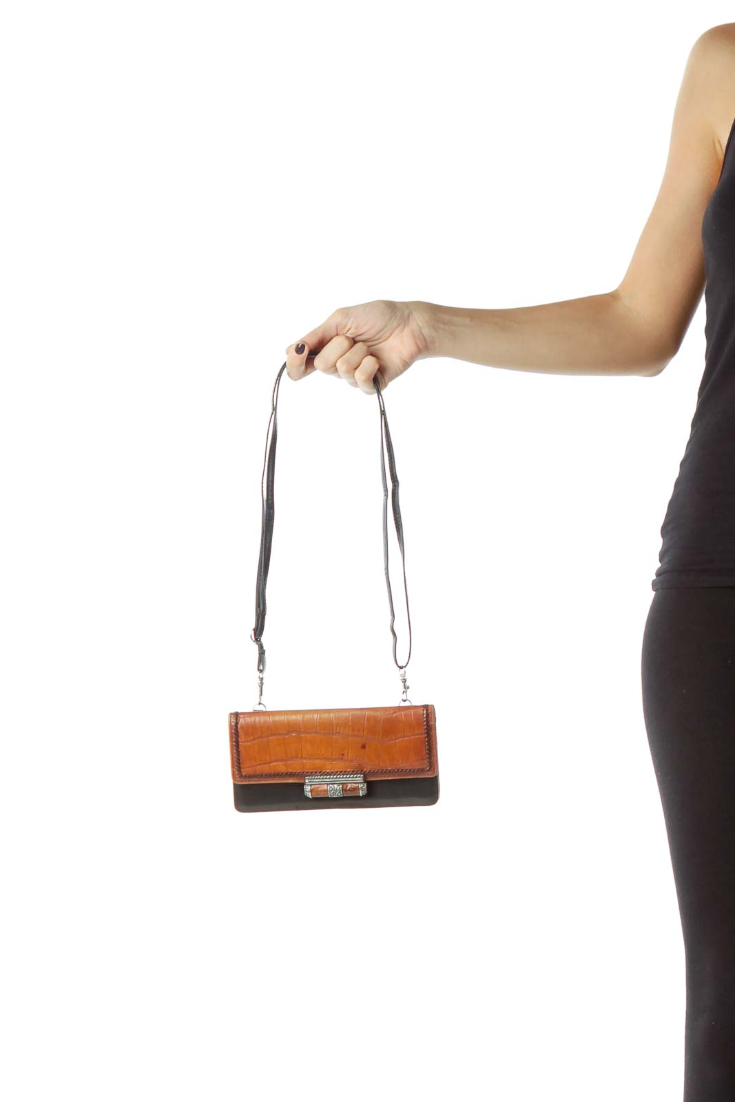 Black Brown Leather Adjustable Strap Wallet