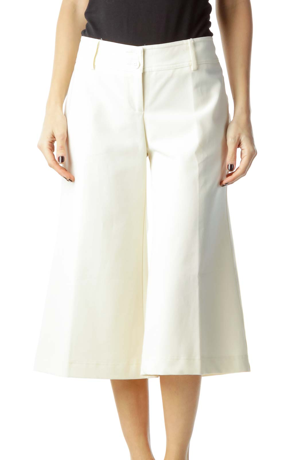 Cream Cropped Slacks