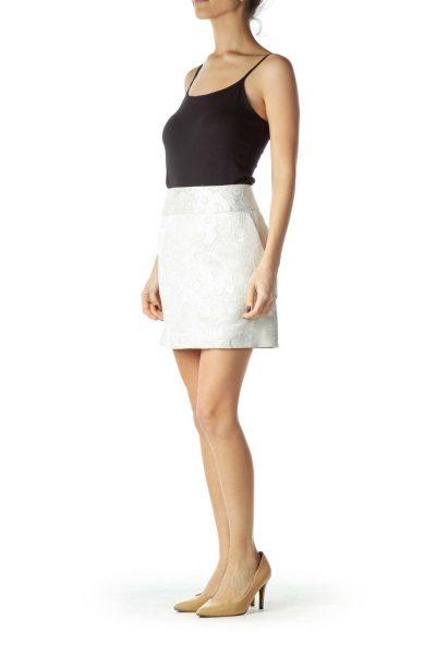Cream Print Metallic Mini Skirt