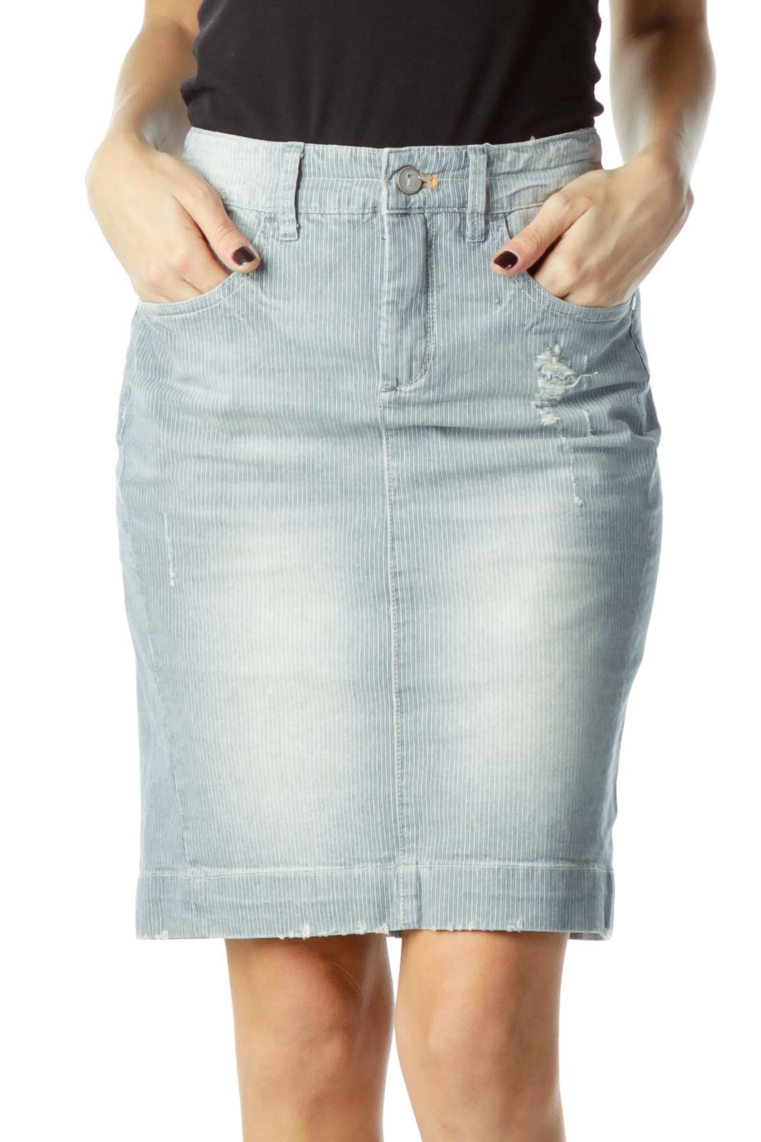 Blue Striped Denim Skirt