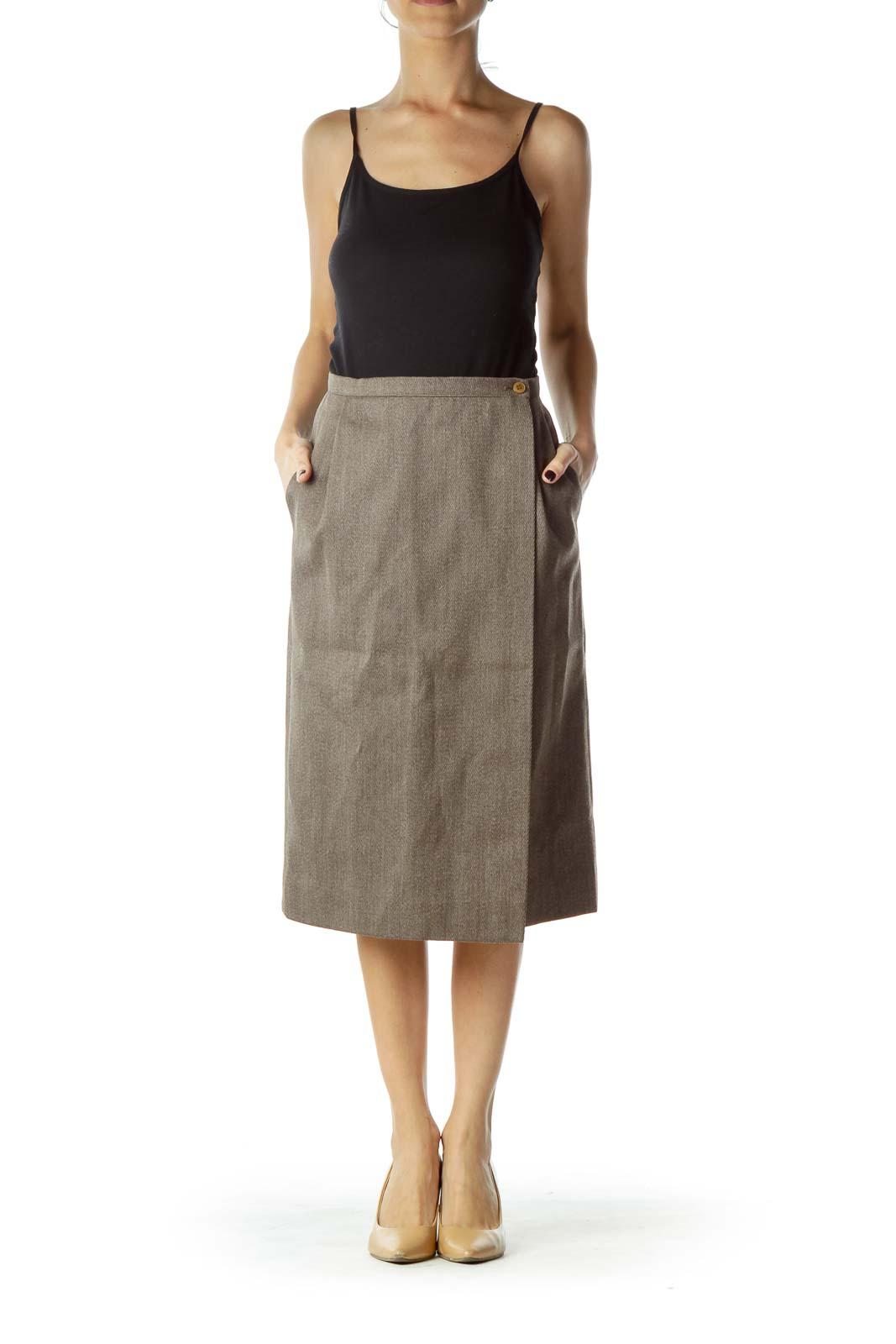 Brown Wool Pencil Skirt
