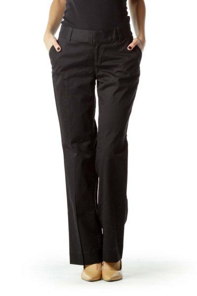 Black Wide Leg Cotton Pant