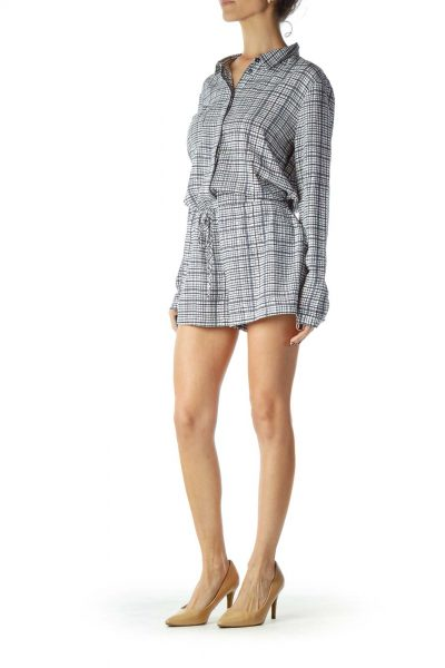 Blue White Checkered Pocketed Romper