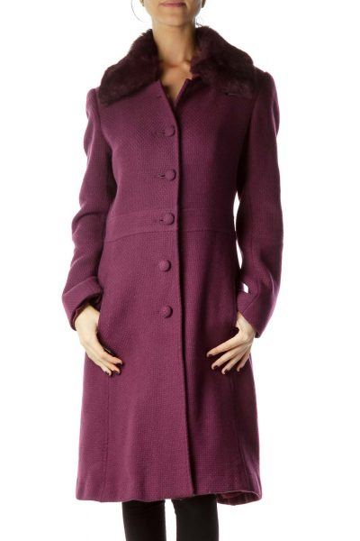 Purple Faux-Fur Collar Single Breast Coat