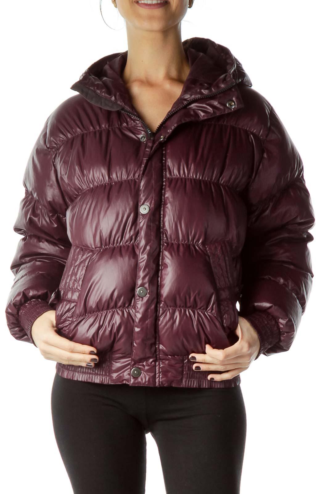 Burgundy Hooded Padded Down Jacket