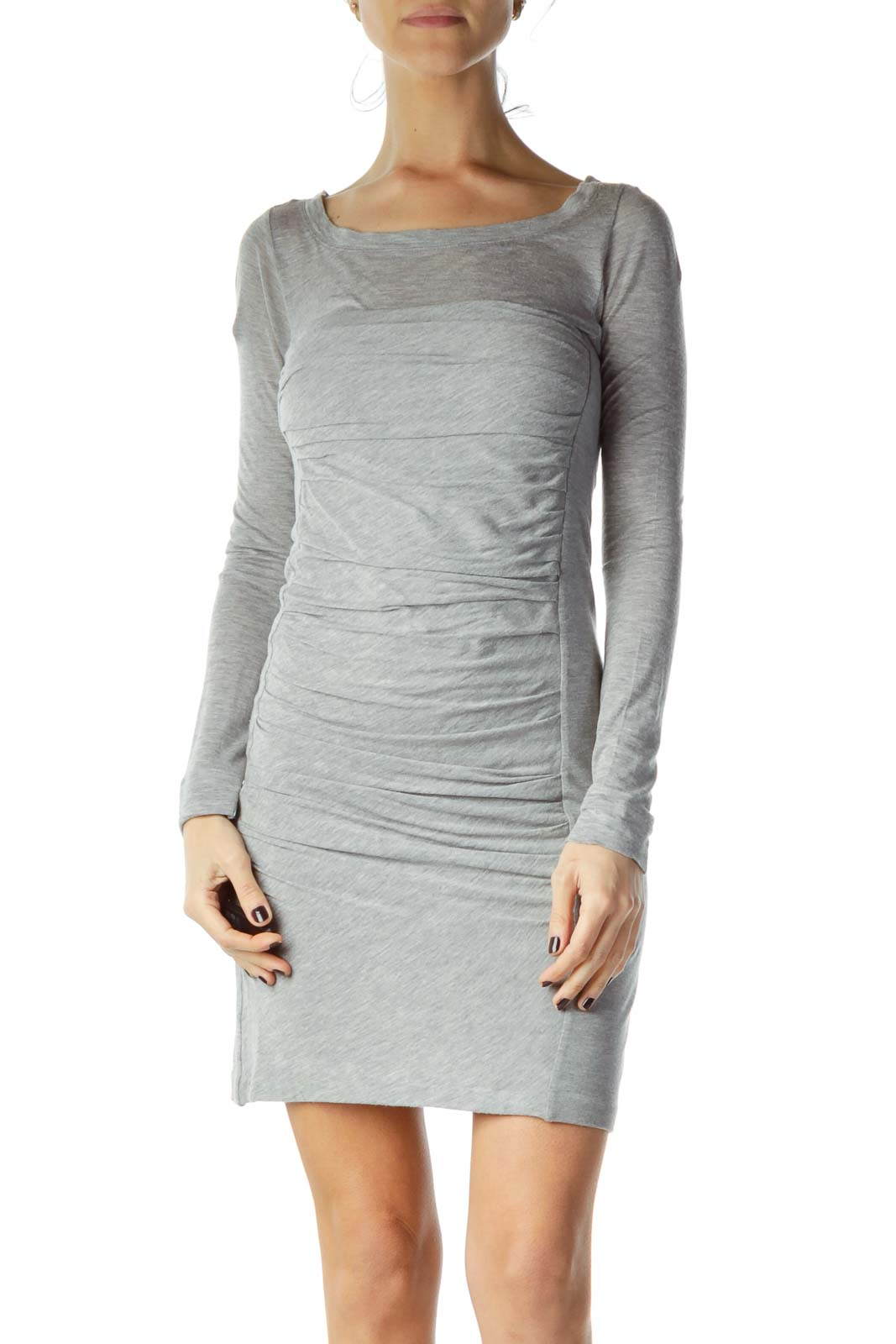 Gray Scrunched Jersey Dress
