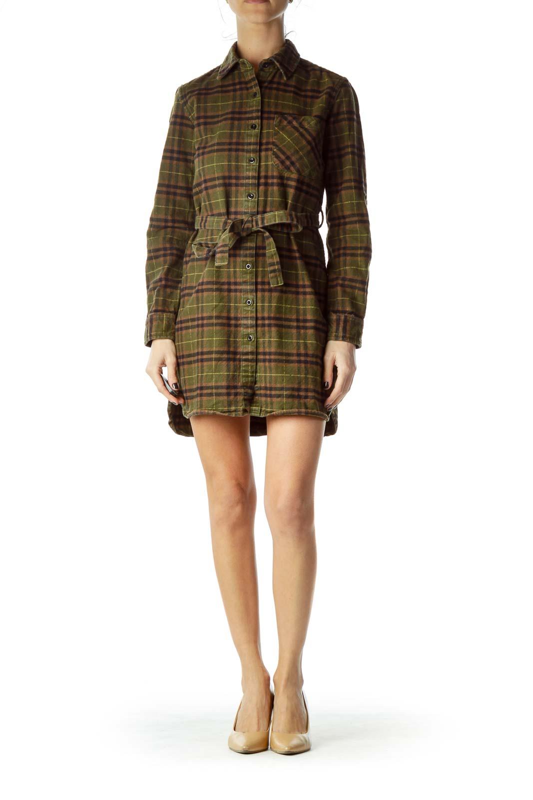 Green Brown Plaid Shirt Dress