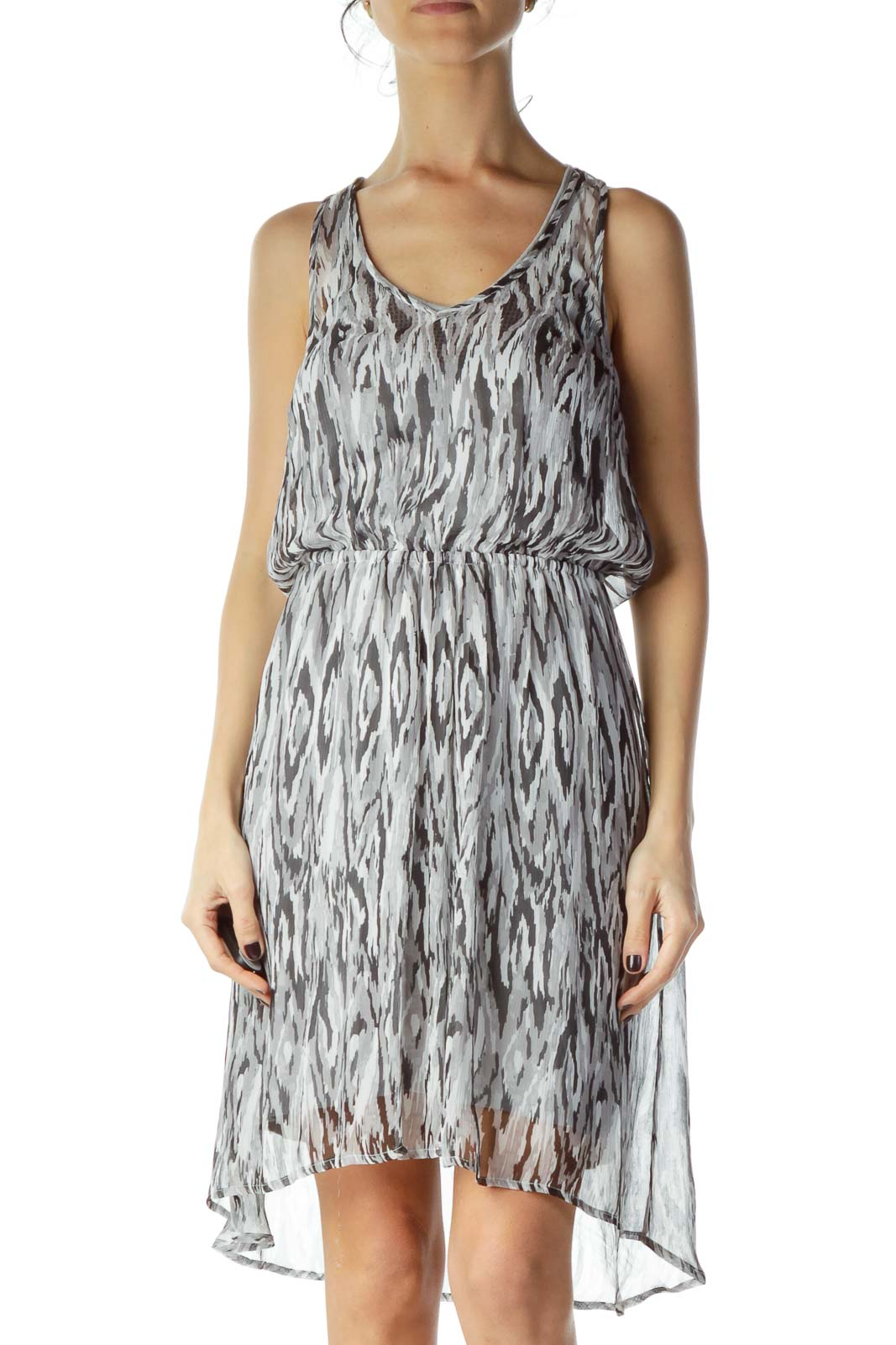 Gray Black Print Sheer Stretchy A-line Dress