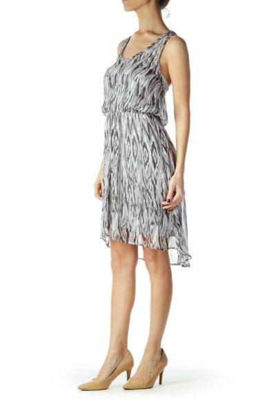 Gray Black Print Sheer Stretchy A-line Dress