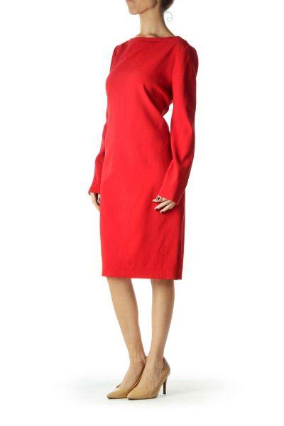 Red Shift Long-sleeve Work Dress